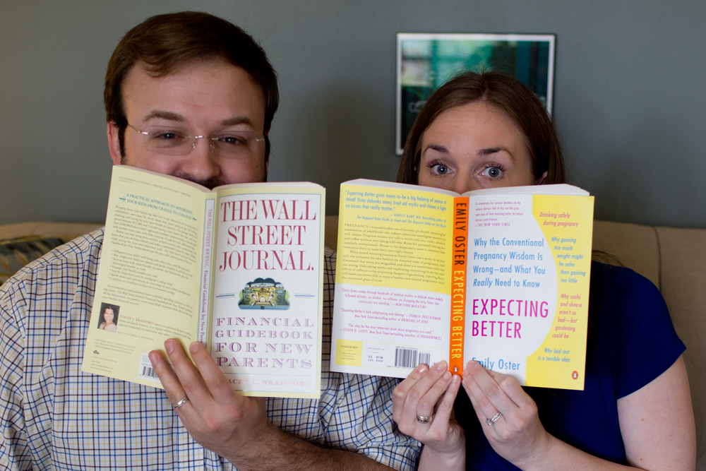 cute pregnancy announcement with books
