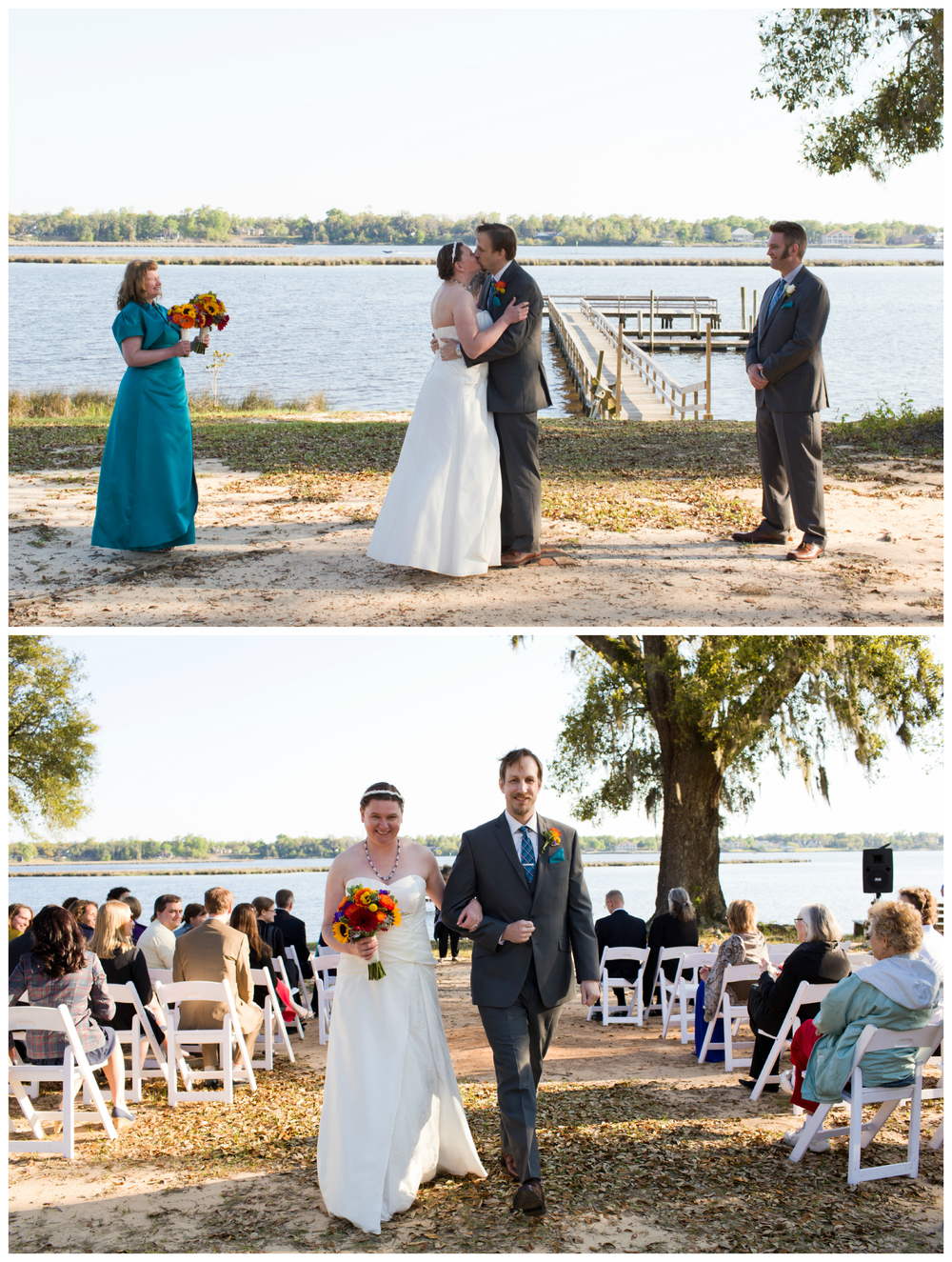 wedding first kiss and recessional outdoors