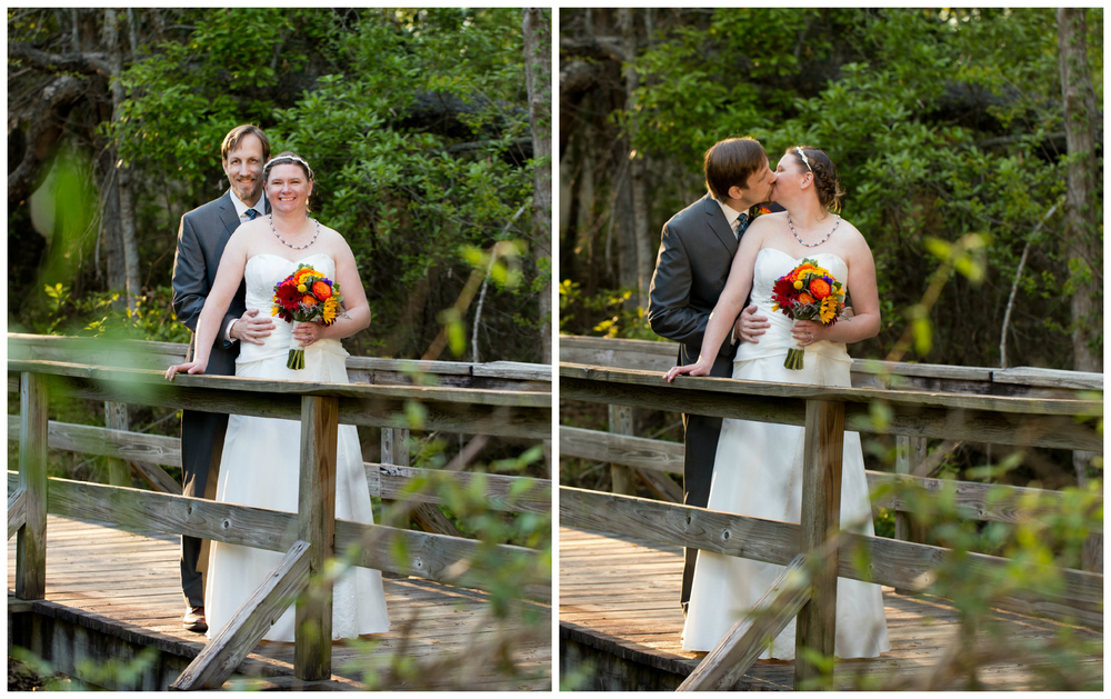 romantic wedding portraits on rustic wooden bridge