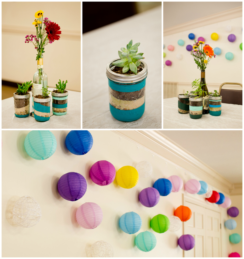 colorful DIY wedding reception decor