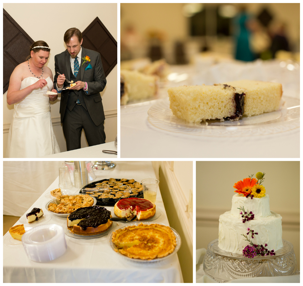 wedding cake, pie, dessert table