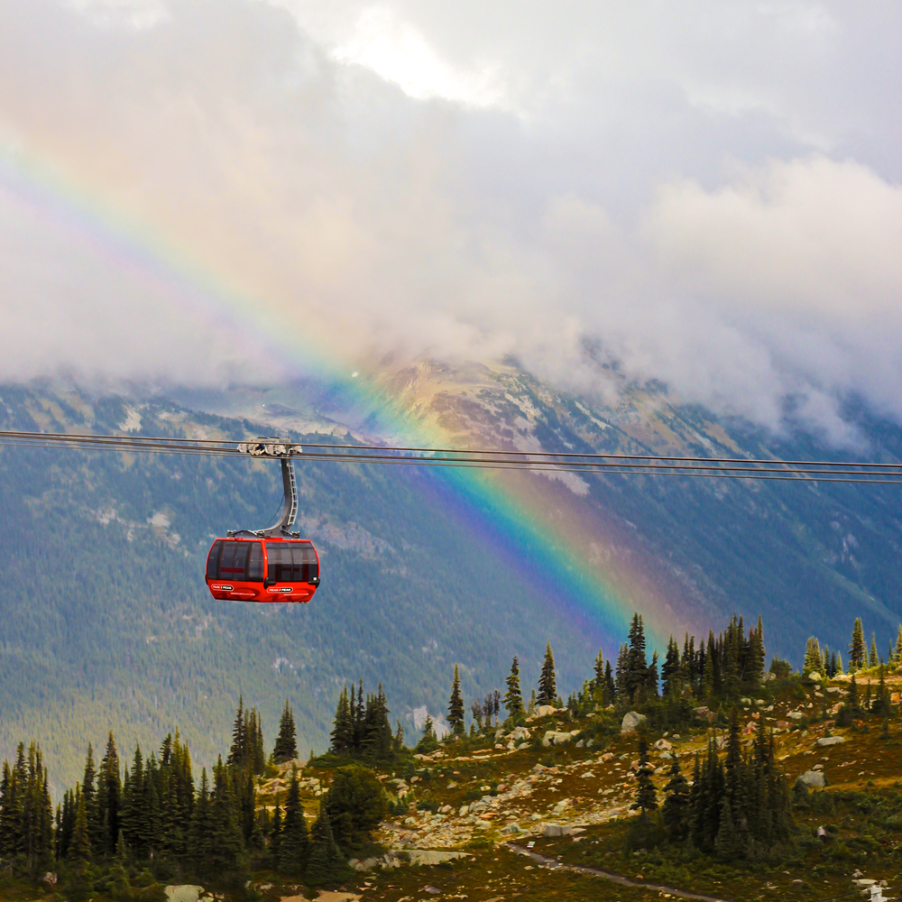 Peak 2 Peak Gondola with rainbow at Whistler Mountain
