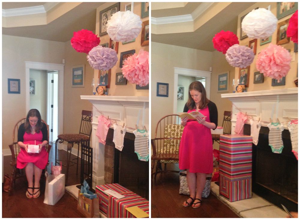 opening presents at baby shower