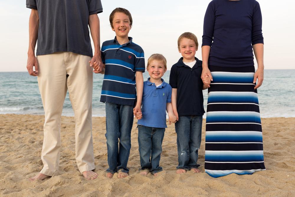 Family of five beach portrait (three boys)