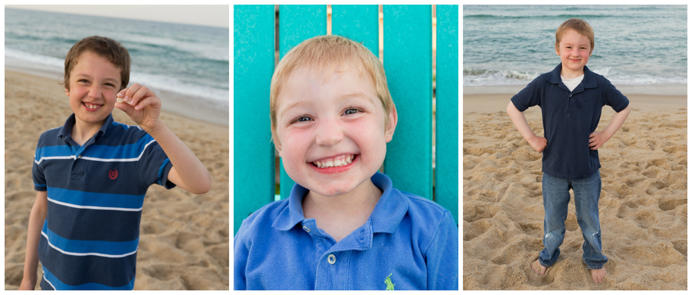 portraits of cute young boys at beach
