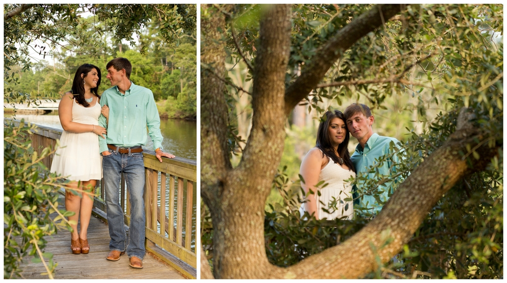 engagement photos with live oak trees