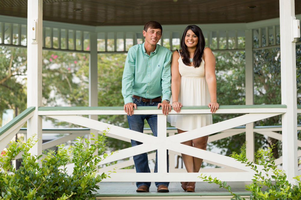 engagement photo at Marshall Park gazebo Ocean Springs (Uninvented Colors Photography)