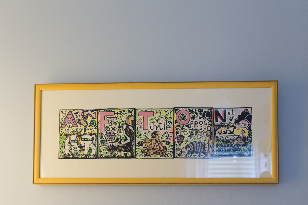 Walter Anderson Afton name painted block print in pastels
