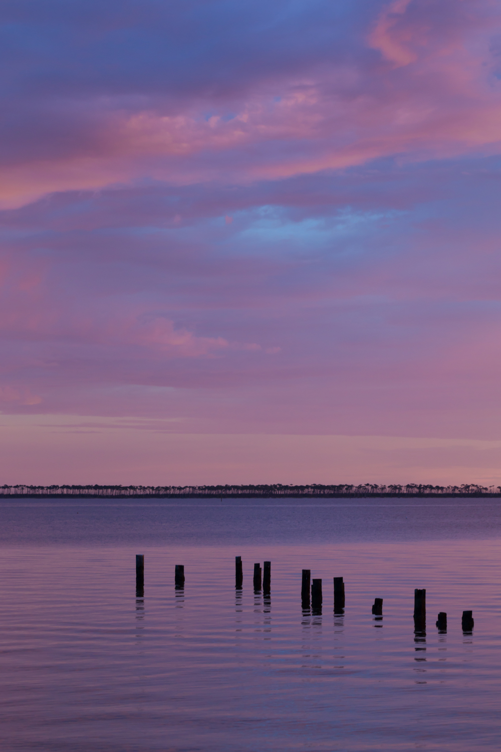 Mississippi Sound at Dusk (pink, purple beach sunset photo)
