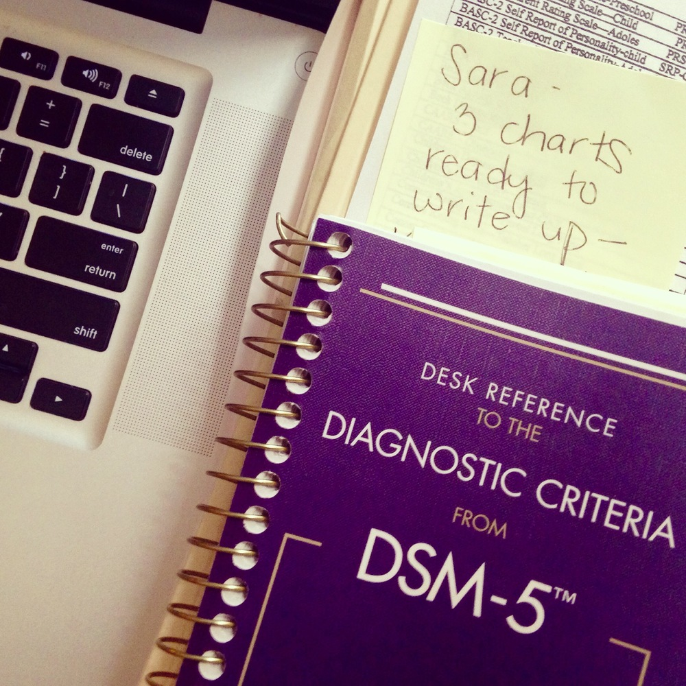 DSM-5, computer keyboard, post-it note, psychology work