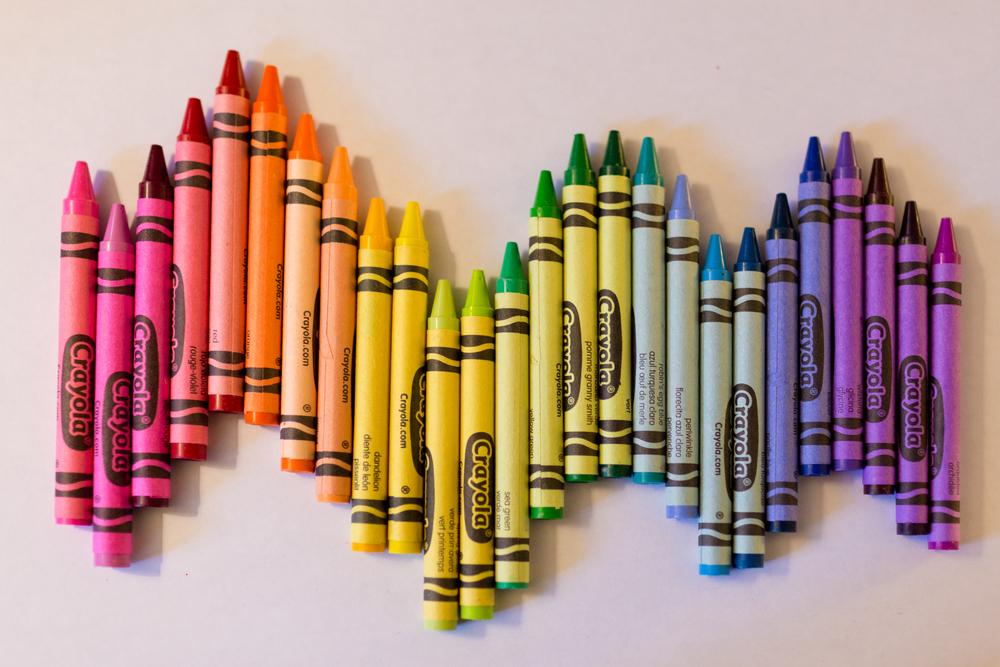 colorful crayon wavy rainbow still life (Crayola)