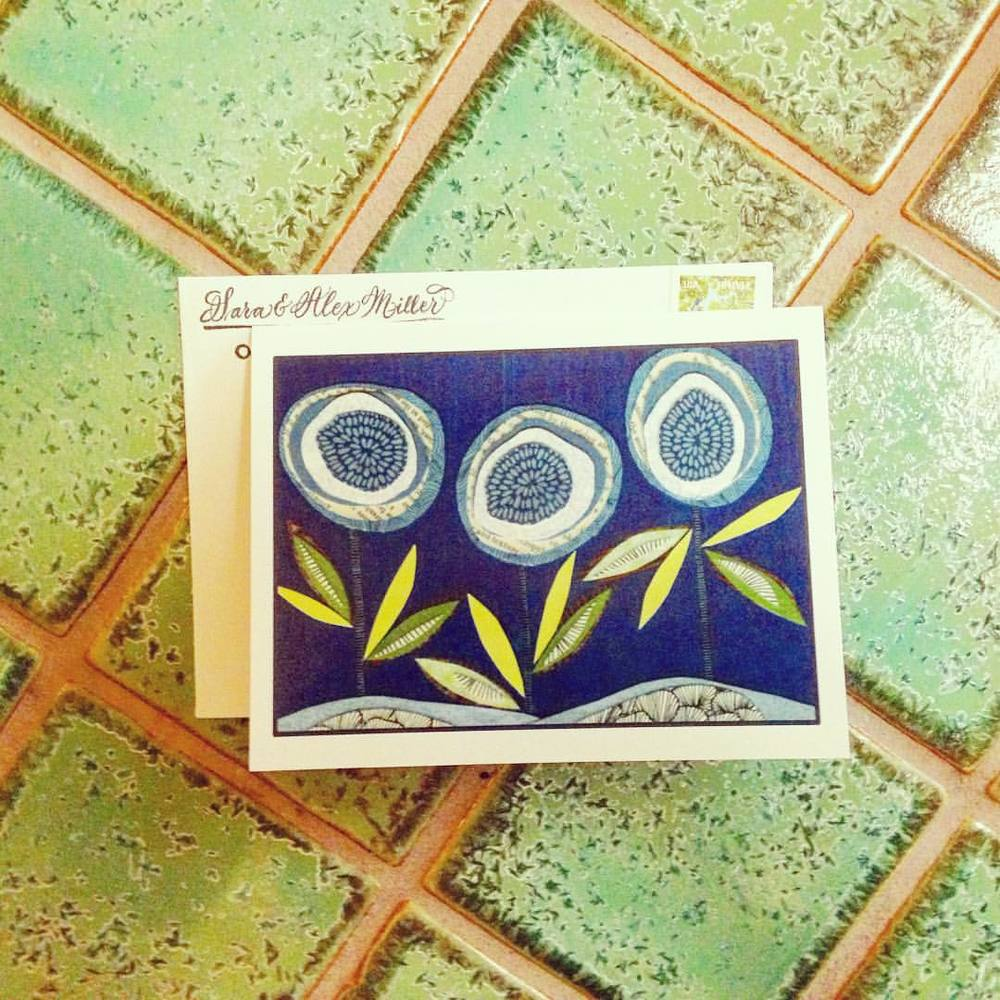blue notecard and green tile table