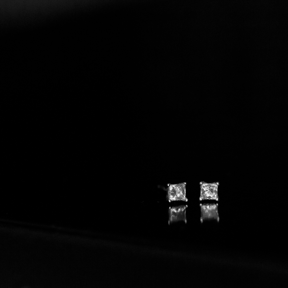 small square diamond earrings