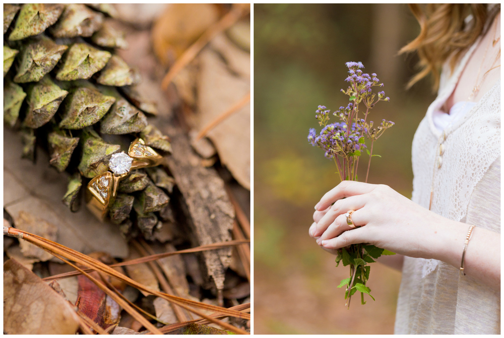 delicate yellow gold diamond engagement ring with wildflowers and pine cone