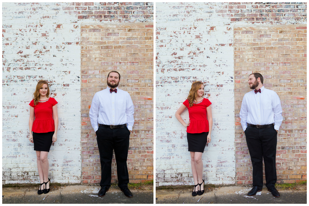 classy urban engagement photo with brick wall, holiday fashion