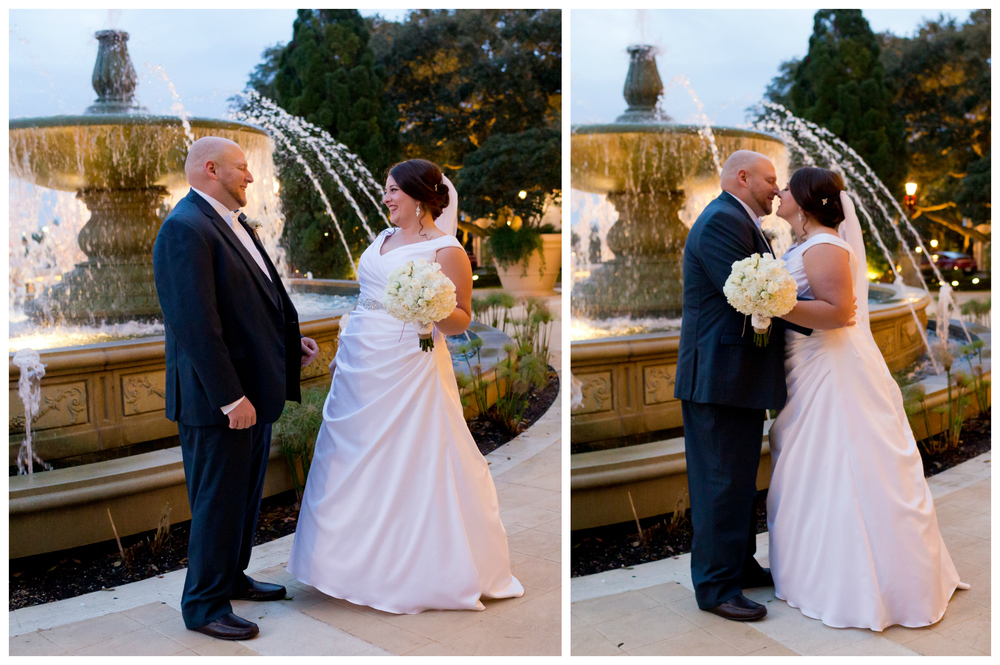 bride and groom first look at Beau Rivage fountain (Biloxi wedding photography)