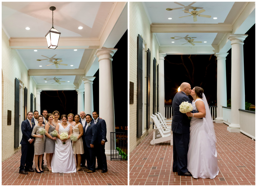 wedding party photos on porch at Biloxi Visitors Center