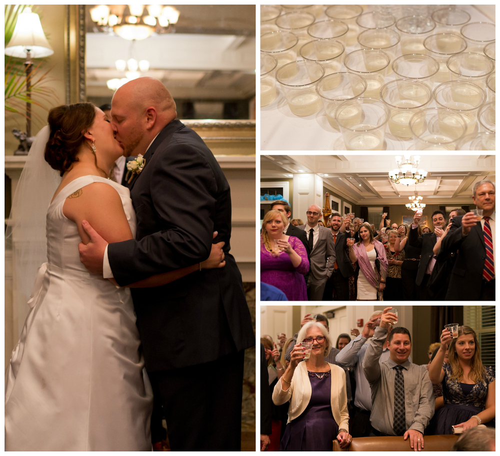 wedding kiss with guest champagne toast