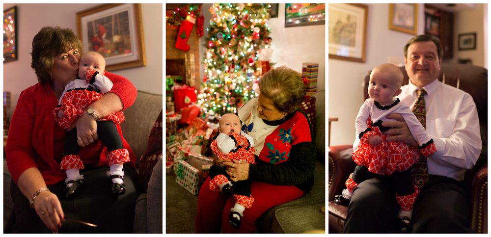 grandparents with baby granddaughter at Christmas