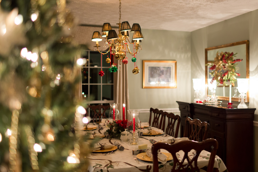 formal dining room at Christmas