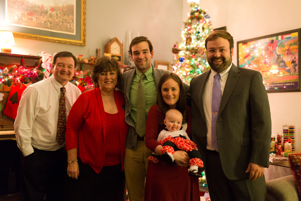 family photo at Christmas
