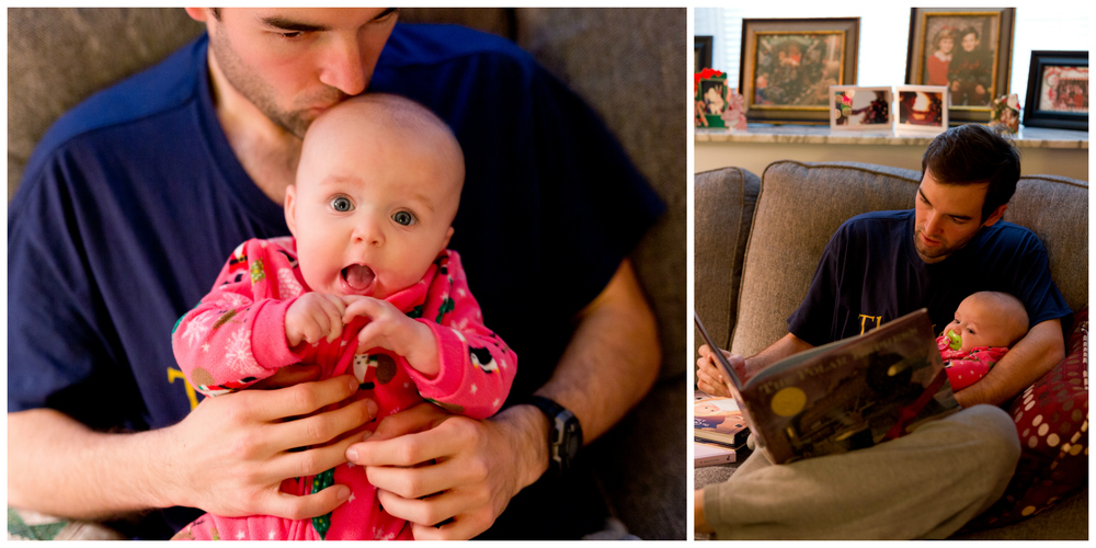 uncle reading The Polar Express to baby neice on Christmas morning
