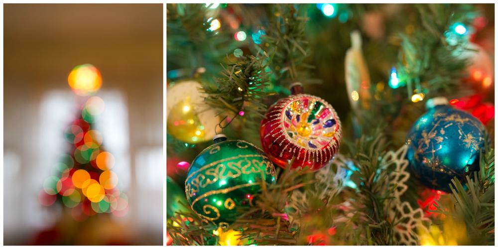 Christmas tree ornaments and bokeh