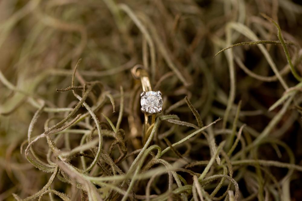 diamond engagement ring in spanish moss