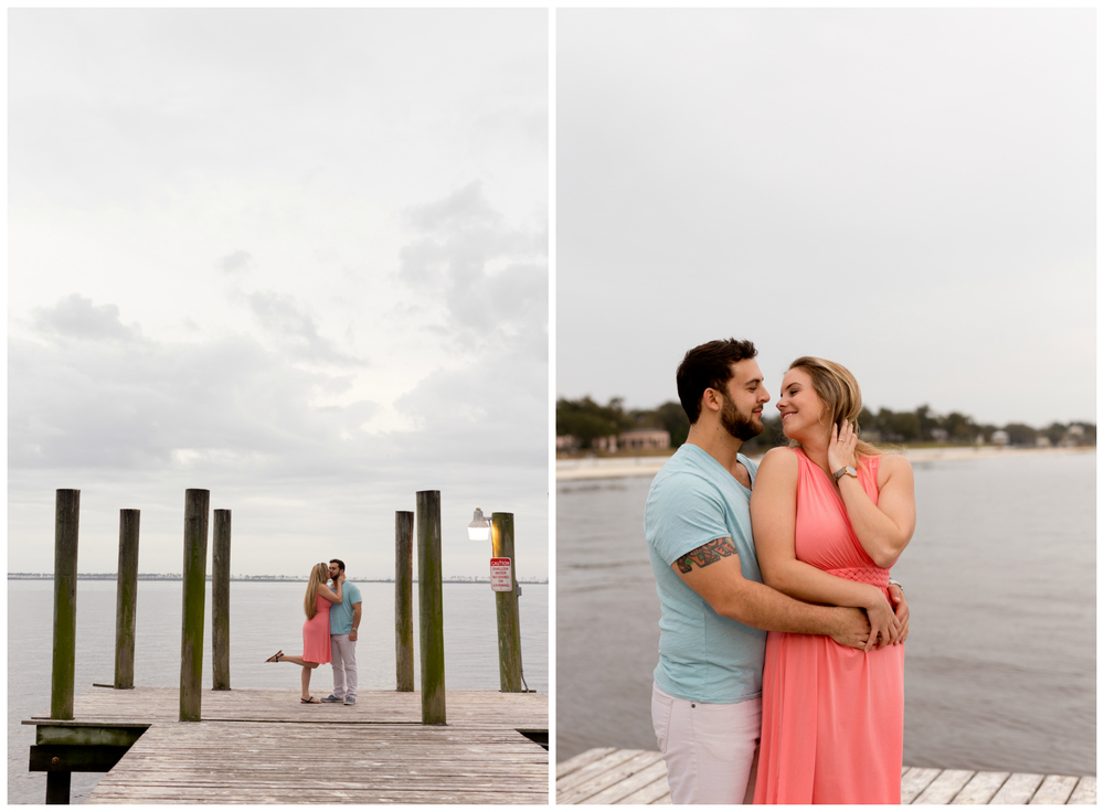 cute engagement photos at Ocean Springs Yacht Club (Uninvented Colors Photography)
