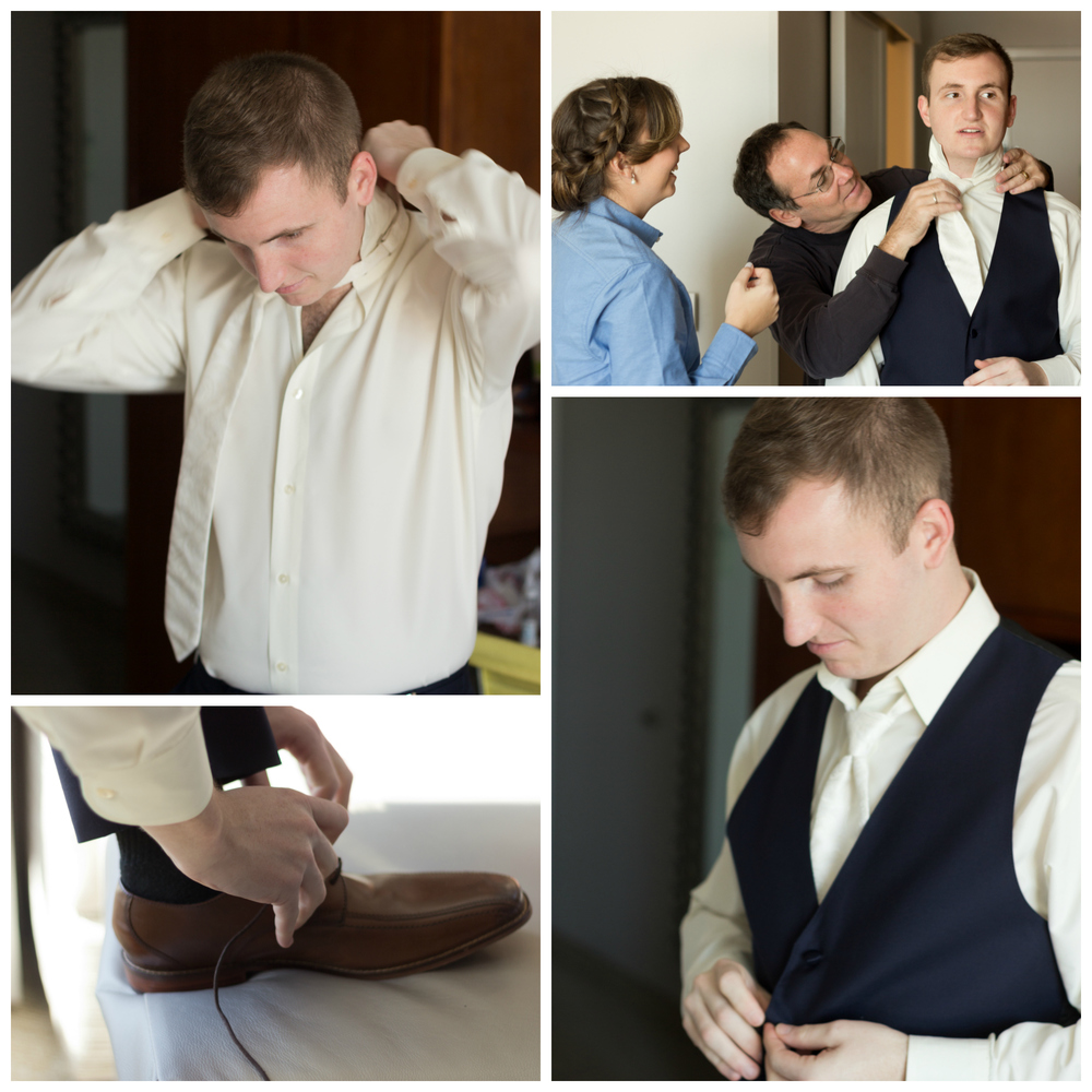 groom getting dressed for wedding