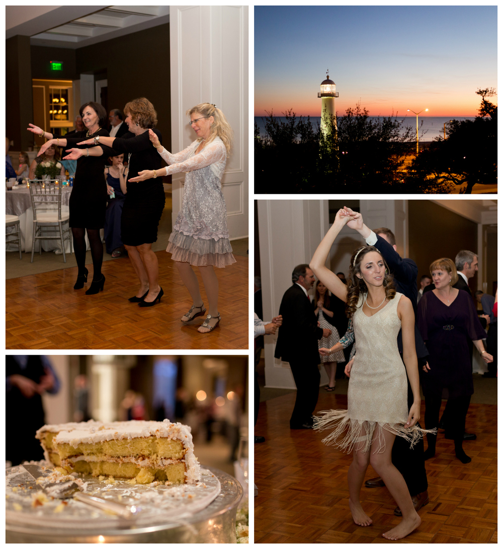 wedding reception fun with flapper dress and Biloxi Lighthouse