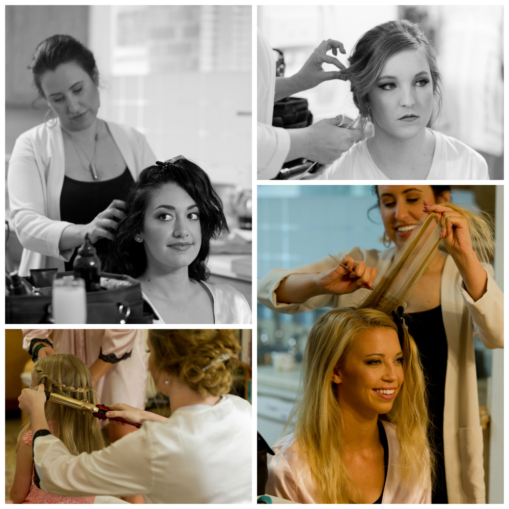 hair stylist with bide and bridesmaid on wedding day