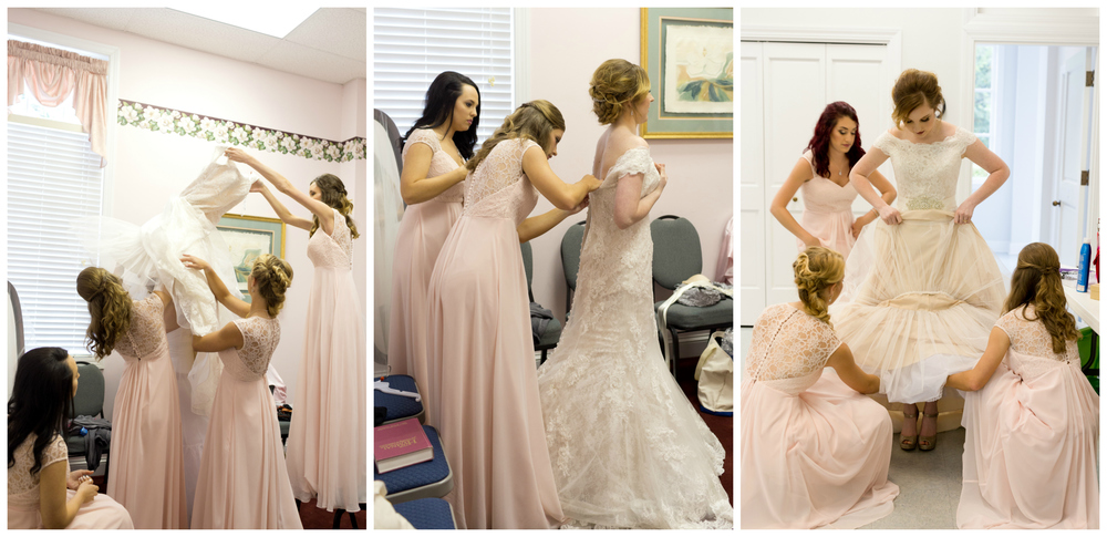 bridesmaids helping bride put on her gown