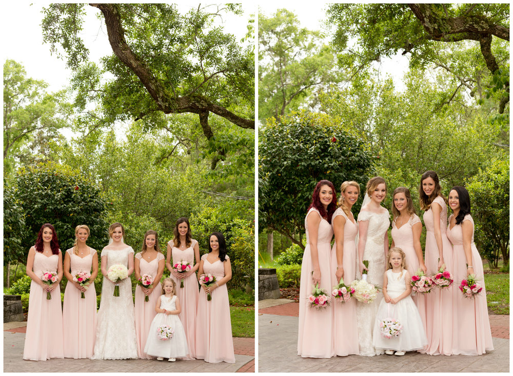 bride and bridesmaid portrait at First Presbyterian Church in Ocean Springs, Mississippi