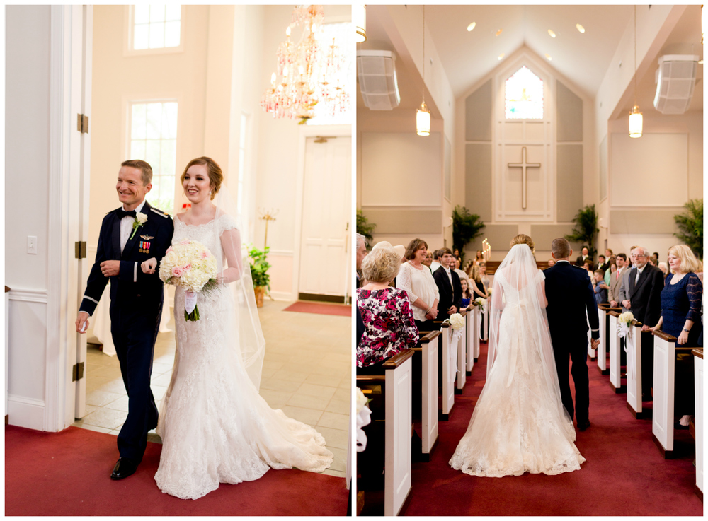 father walking bride down aisle at First Presbyterian Church Ocean Springs