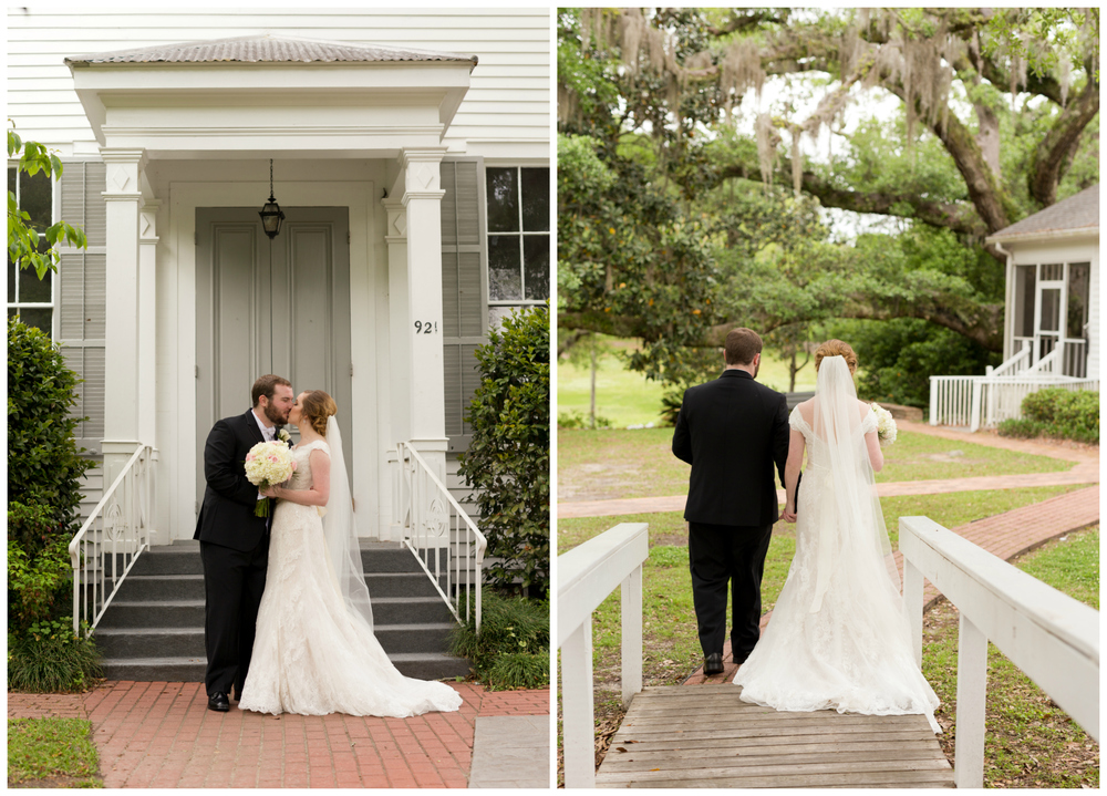bride and groom at First Presbyterian Church Ocean Springs