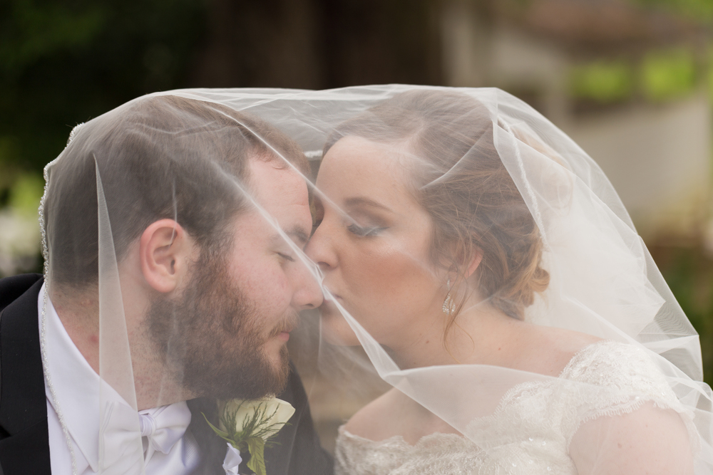 bride and groom photo under veil