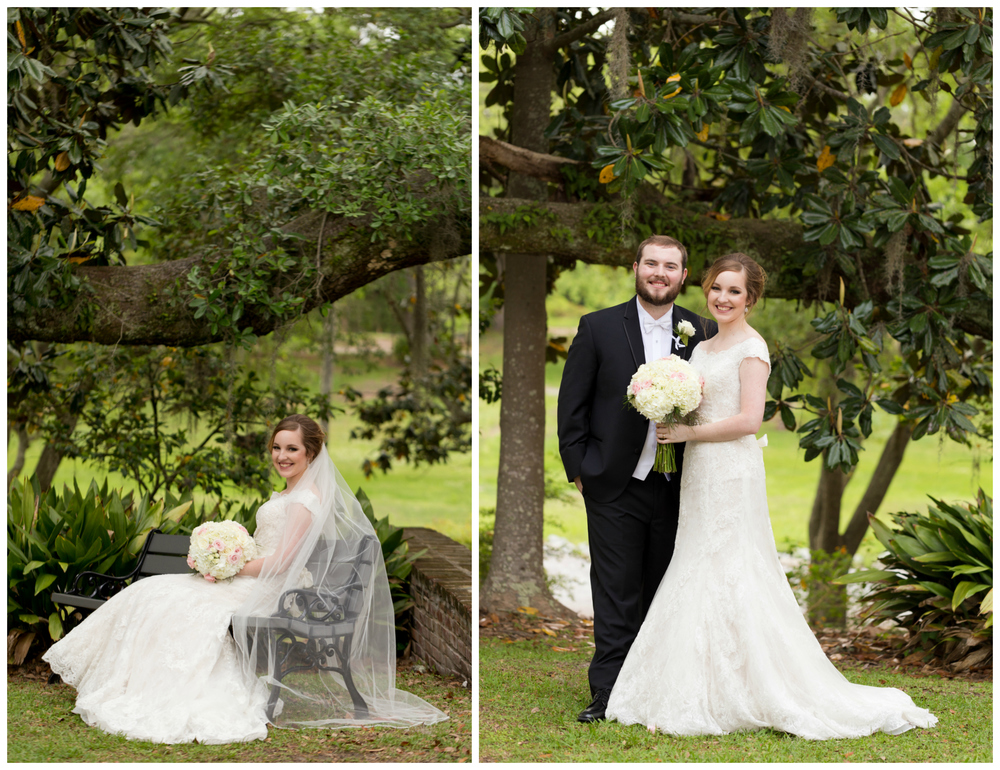 bridal portrait with magnolia tree