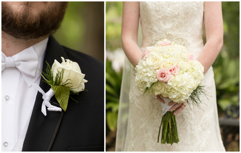 wedding bouquet and boutonniere details