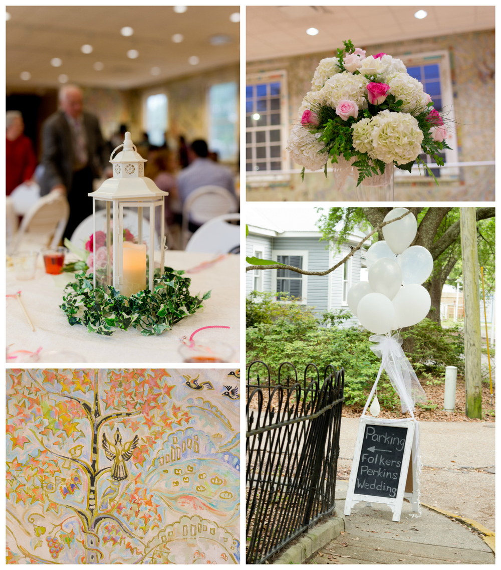 wedding reception decor at Ocean Springs Community Center