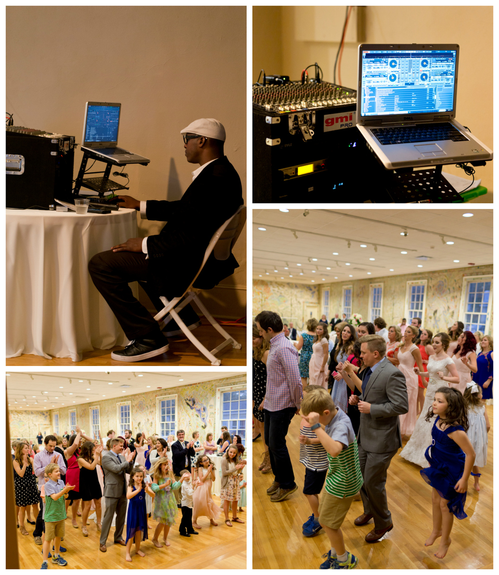 DJ and dancers at wedding reception