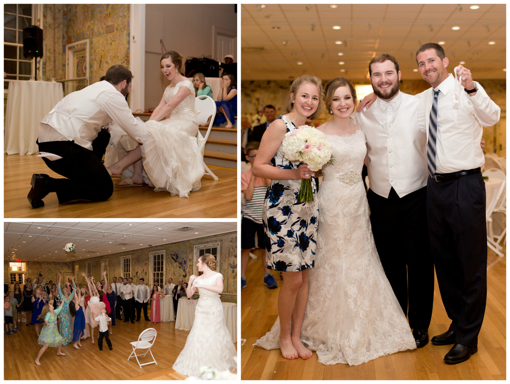 bride and groom with friends who caught bouquet and garter