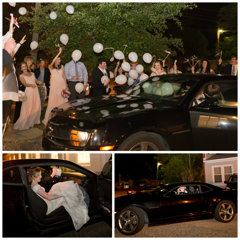 wedding exit with balloons in car