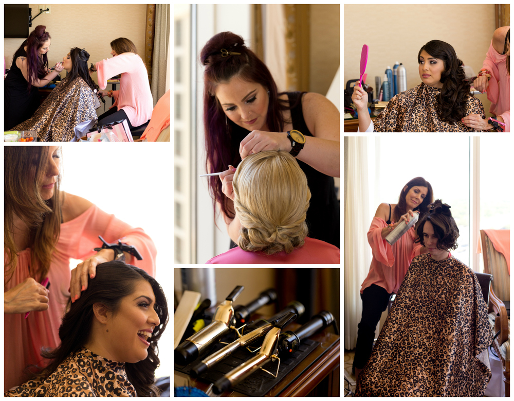 hair and makeup artists with bride and bridesmaid on wedding day at Beau Rivage Biloxi