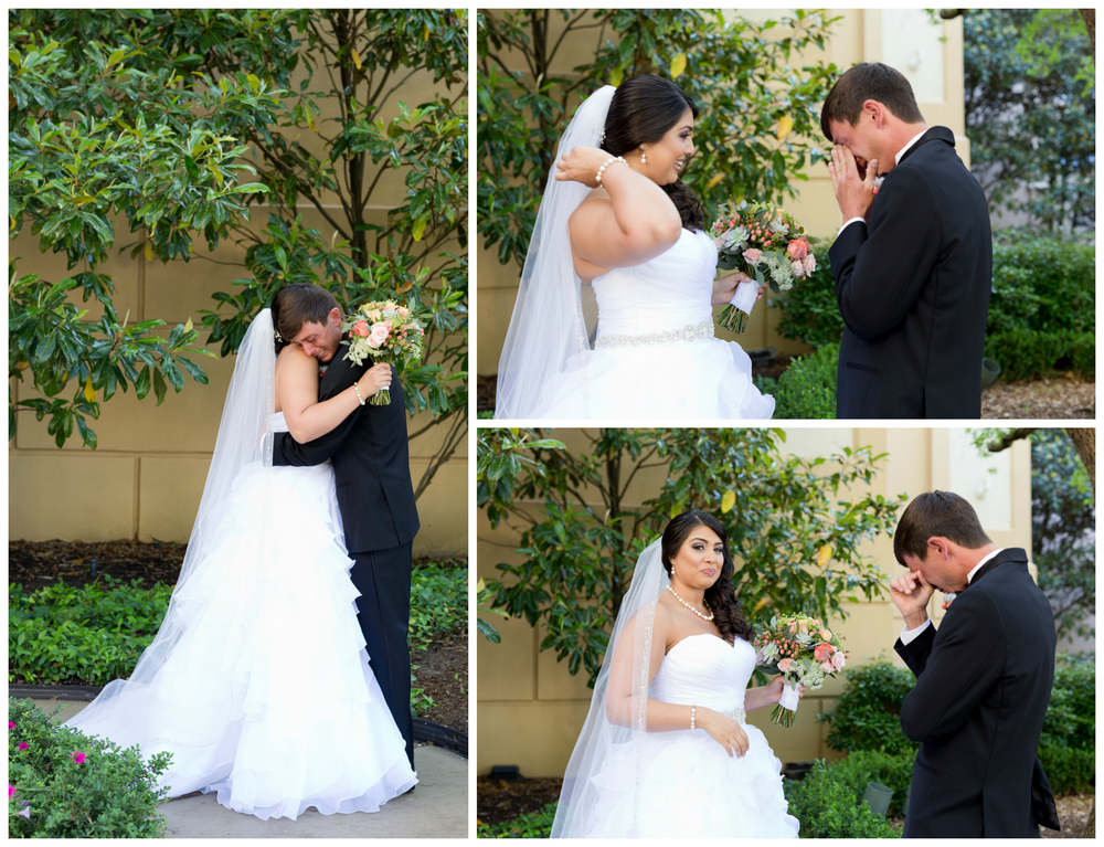 bride and groom first with tearful groom (Biloxi wedding photography)