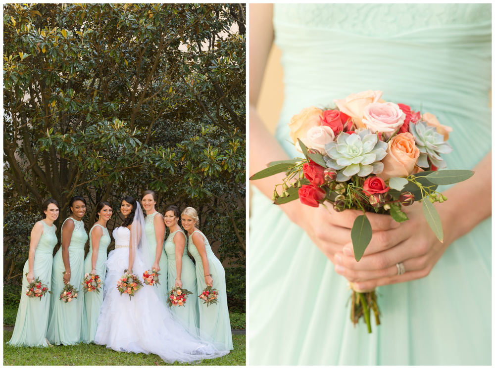 bridesmaids photo (mint green bridesmaid dresses, coral rose and succulent bouquets, magnolia trees (Biloxi wedding photographer Uninvented Colors Photography)
