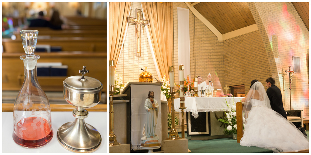Holy Communion at Catholic wedding