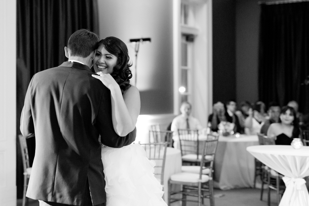 black and white first dance photo (Uninvented Colors Photography)