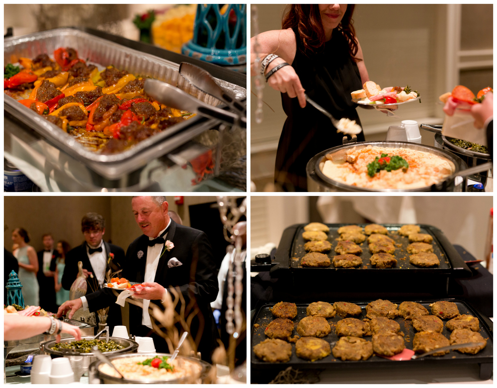 wedding reception buffet food (crab cakes, shrimp and grits)