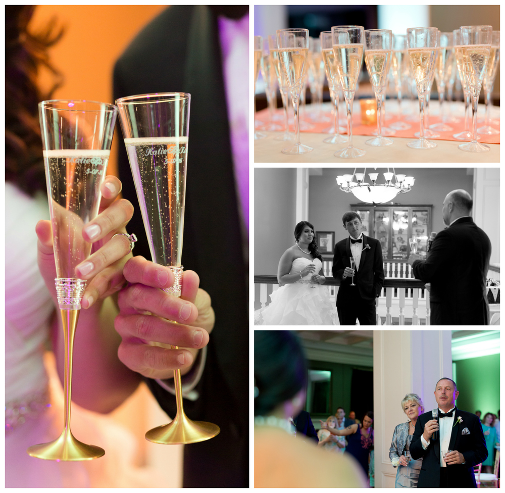 wedding reception champagne toasts (Biloxi wedding photographer, Uninvented Colors Photography)
